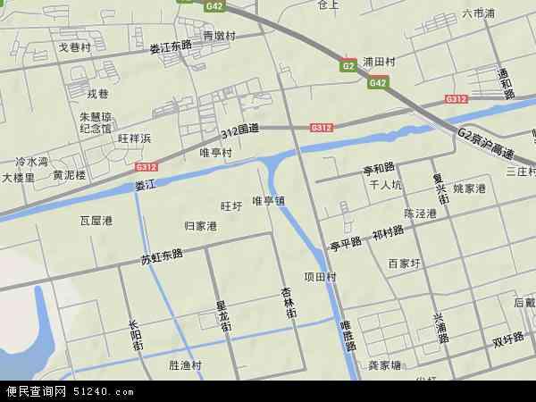 中国江苏省苏州市姑苏区唯亭地图(卫星地图)