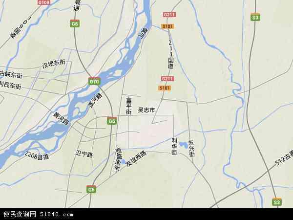中国宁夏回族自治区吴忠市地图(卫星地图)