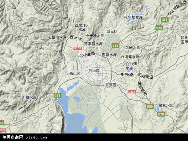 中国云南省昆明市五华区地图(卫星地图)