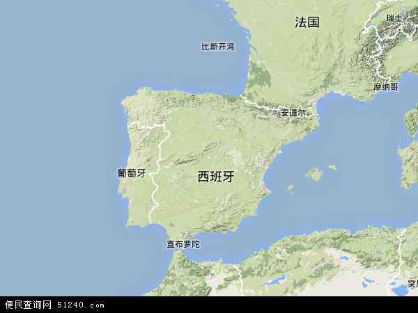西班牙地图 - 西班牙卫星地图