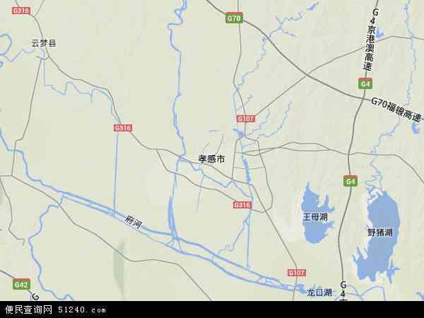 中国湖北省孝感市地图(卫星地图)