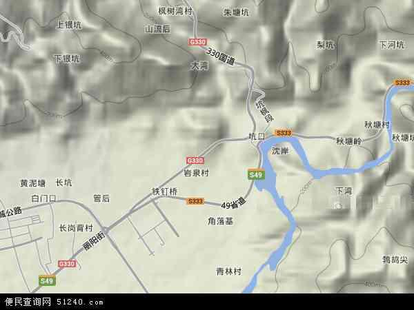 中国浙江省丽水市莲都区岩泉地图(卫星地图)
