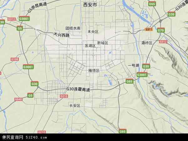 雁塔区地图 - 雁塔区卫星地图