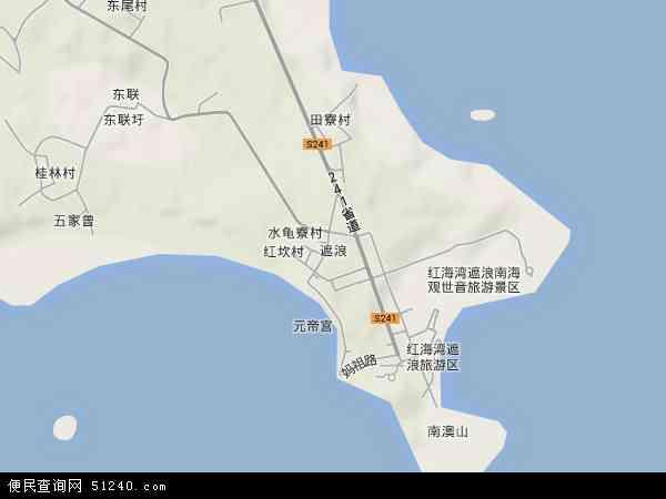 中国广东省汕尾市城区遮浪地图(卫星地图)