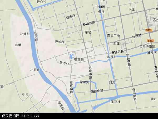 中国江苏省扬州市宝应县安宜镇地图(卫星地图)