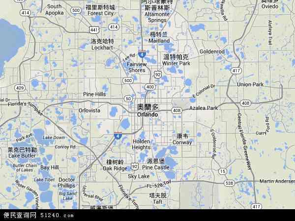 奥兰多地图 - 奥兰多卫星地图