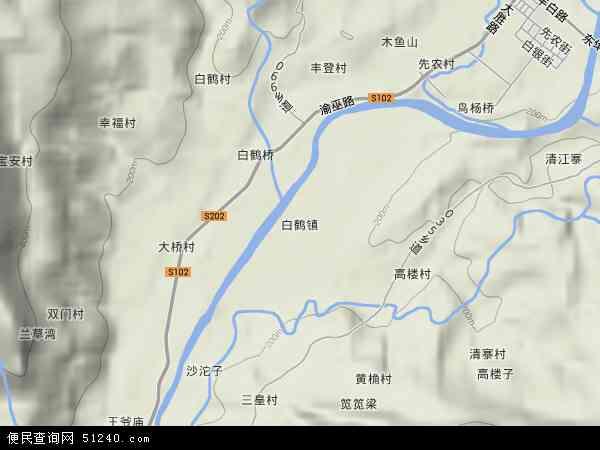 白鹤地形地图