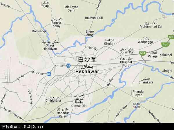 白沙瓦地图 - 白沙瓦卫星地图