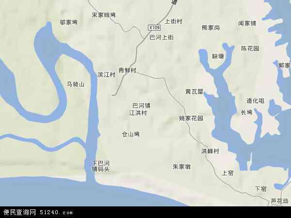 中国湖北省黄冈市浠水县巴河镇地图(卫星地图)