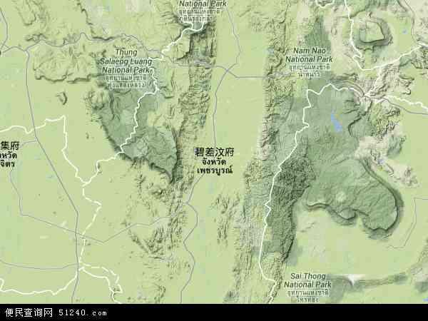 泰国碧差汶地图(卫星地图)