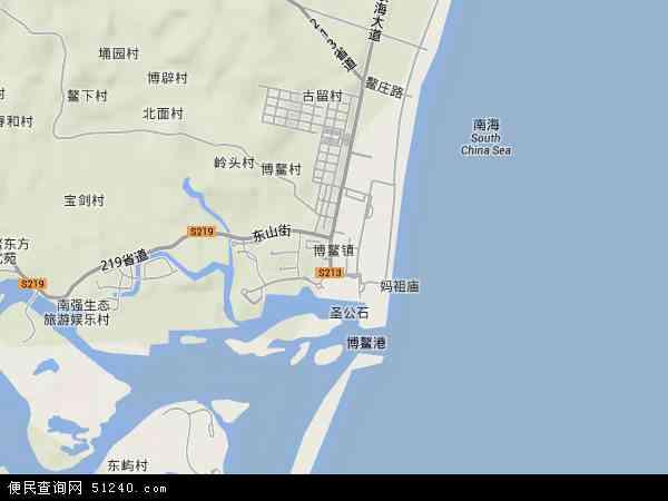 中国海南省省直辖县级行政区划琼海市博鳌镇地图(卫星地图)