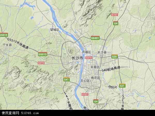 中国湖南省长沙市地图(卫星地图)