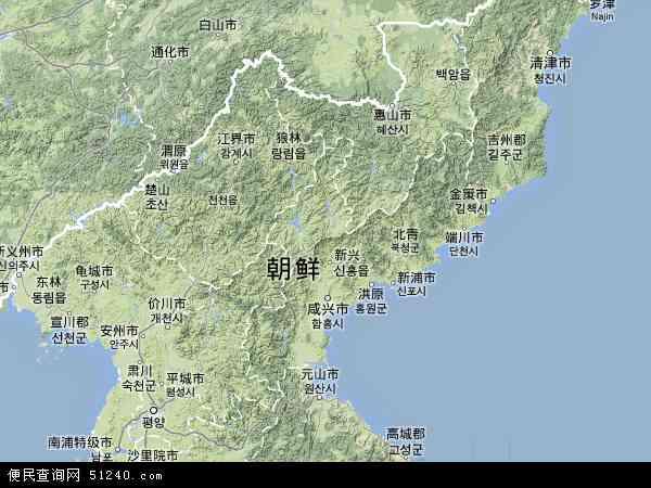 朝鲜地图(卫星地图)