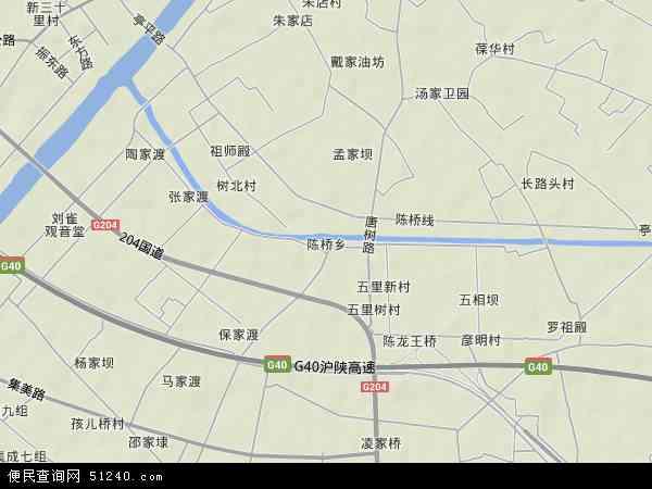 中国江苏省南通市港闸区陈桥地图(卫星地图)