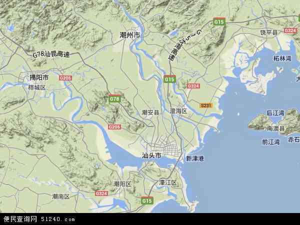 中国广东省潮州市潮安区地图(卫星地图)