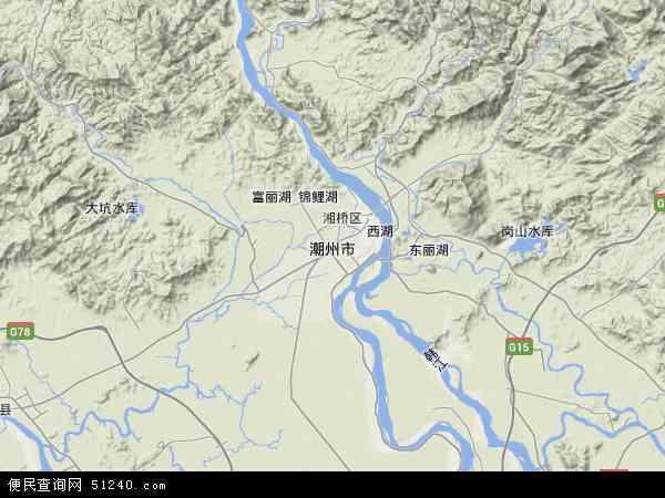 中国广东省潮州市地图(卫星地图)