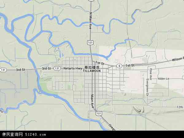 美国俄勒冈蒂拉穆克地图(卫星地图)