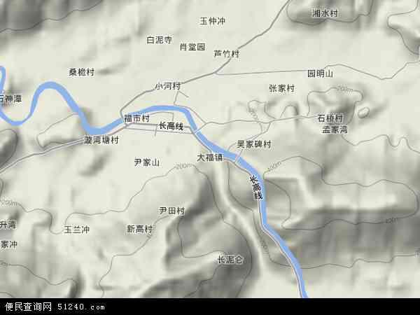 中国湖南省益阳市安化县大福镇地图(卫星地图)图片