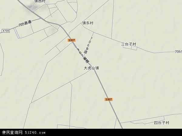 中国辽宁省锦州市黑山县大虎山地图(卫星地图)