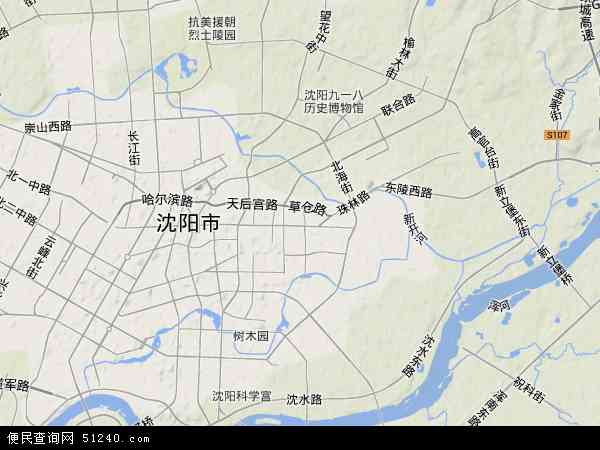 中国辽宁省沈阳市大东区地图(卫星地图)