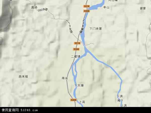 中国江西省抚州市宜黄县二都镇地图(卫星地图)