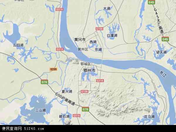 中国湖北省鄂州市鄂城区地图(卫星地图)