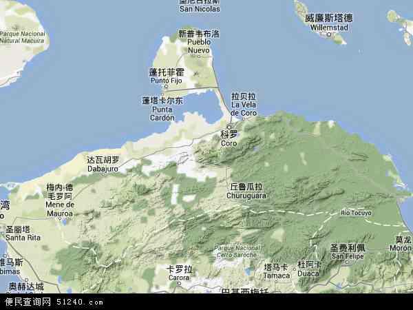 委内瑞拉法尔孔地图(卫星地图)