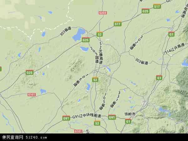 法库县地图 - 法库县卫星地图图片