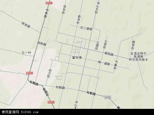 中国黑龙江省齐齐哈尔市富裕县富裕镇地图(卫星地图)