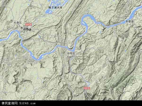 中国重庆市涪陵区地图(卫星地图)