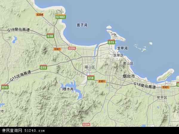 中国山东省烟台市福山区地图(卫星地图)