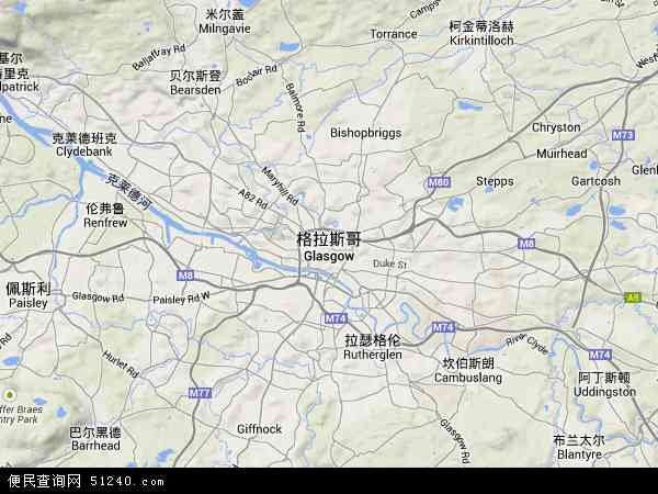 英国苏格兰格拉斯哥地图(卫星地图)