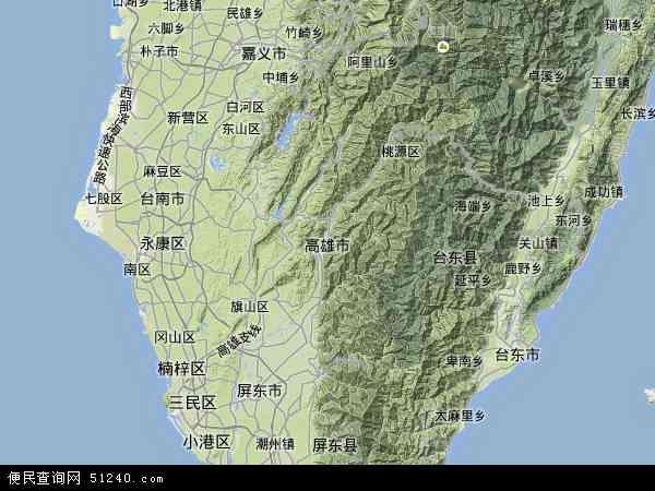 中国台湾高雄市地图(卫星地图)