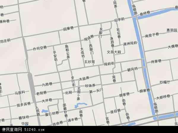 中国江苏省苏州市姑苏区观前地图(卫星地图)