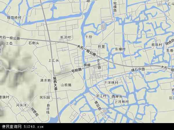 中国浙江省台州市温岭市横峰地图(卫星地图)