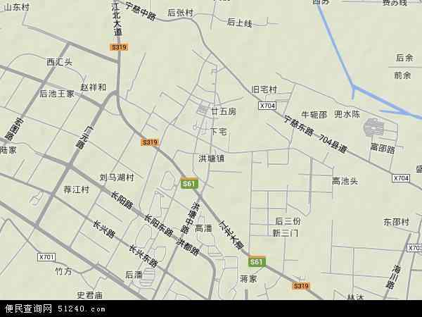 中国浙江省宁波市江北区洪塘地图(卫星地图)