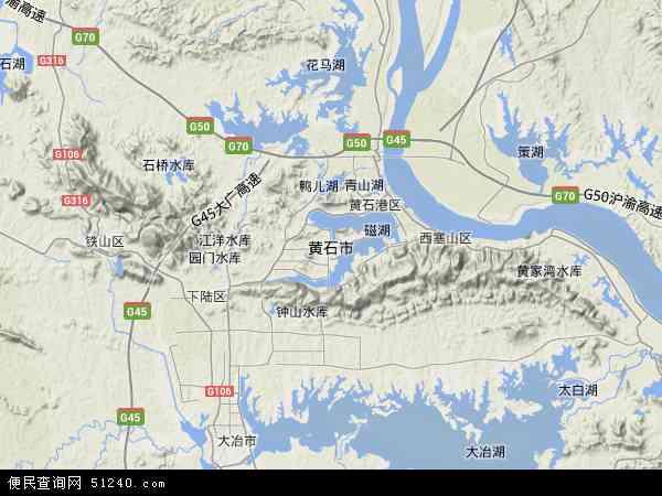 中国湖北省黄石市地图(卫星地图)