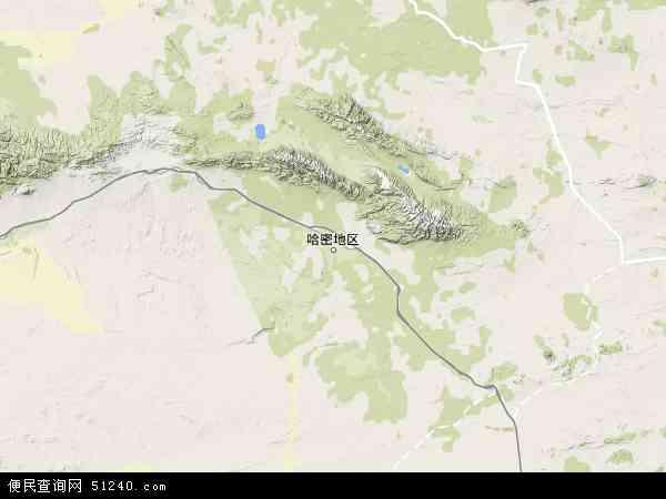 哈密地区地图 - 哈密地区卫星地图