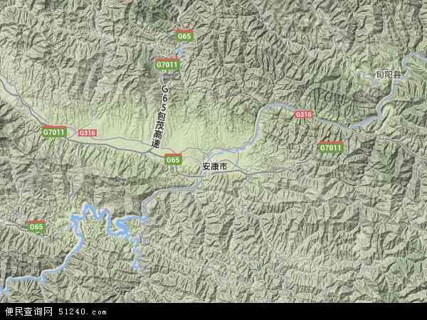 中国陕西省安康市汉滨区地图(卫星地图)