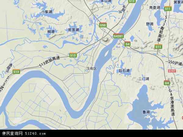 中国湖北省武汉市汉南区地图(卫星地图)