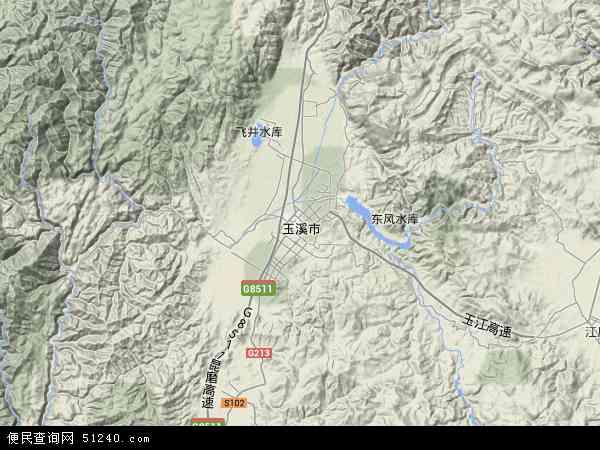 中国云南省玉溪市红塔区地图(卫星地图)