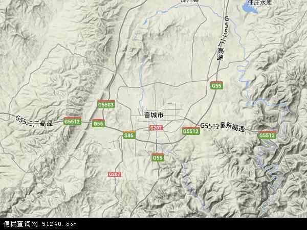 中国山西省晋城市地图(卫星地图)