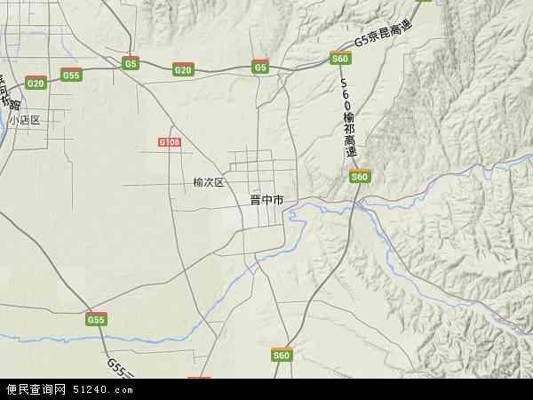 中国山西省晋中市地图(卫星地图)