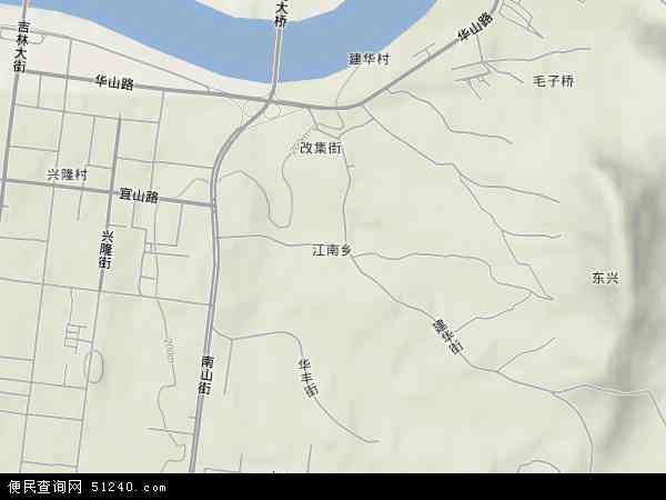 中国吉林省吉林市丰满区江南地图(卫星地图)