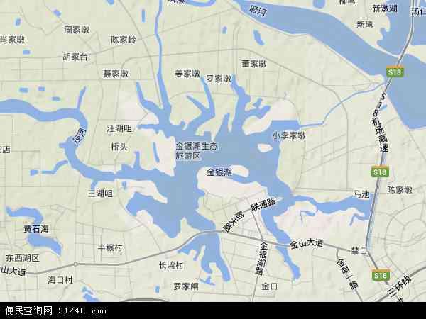 中国湖北省武汉市东西湖区金银湖地图(卫星地图)