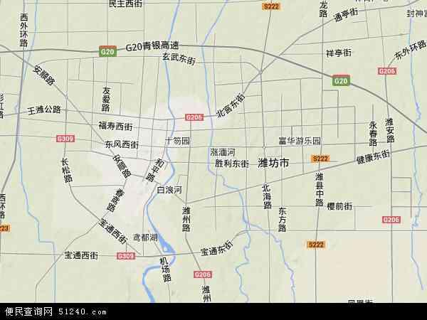 中国山东省潍坊市奎文区地图(卫星地图)