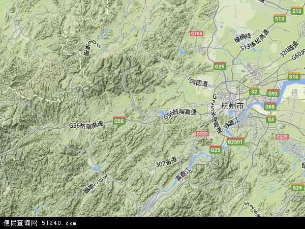 中国浙江省杭州市临安市地图(卫星地图)
