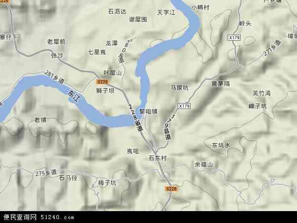 中国广东省河源市龙川县黎咀镇地图(卫星地图)