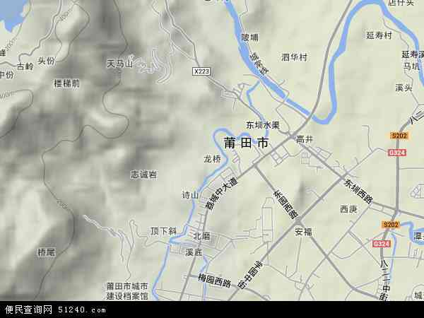 中国福建省莆田市城厢区龙桥地图(卫星地图)