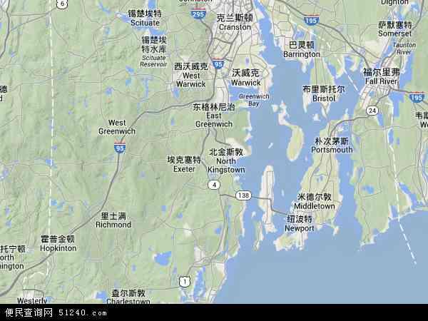 罗德岛地图 - 罗德岛卫星地图